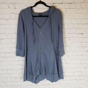 Saks fifth Avenue BLUE label zip up tunic hoodie